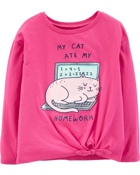 Display product reviews for Glitter Cat Ate My Homework Tee