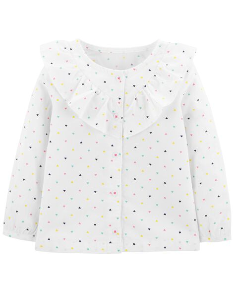 Display product reviews for Polka Dot Button-Front Ruffle Top