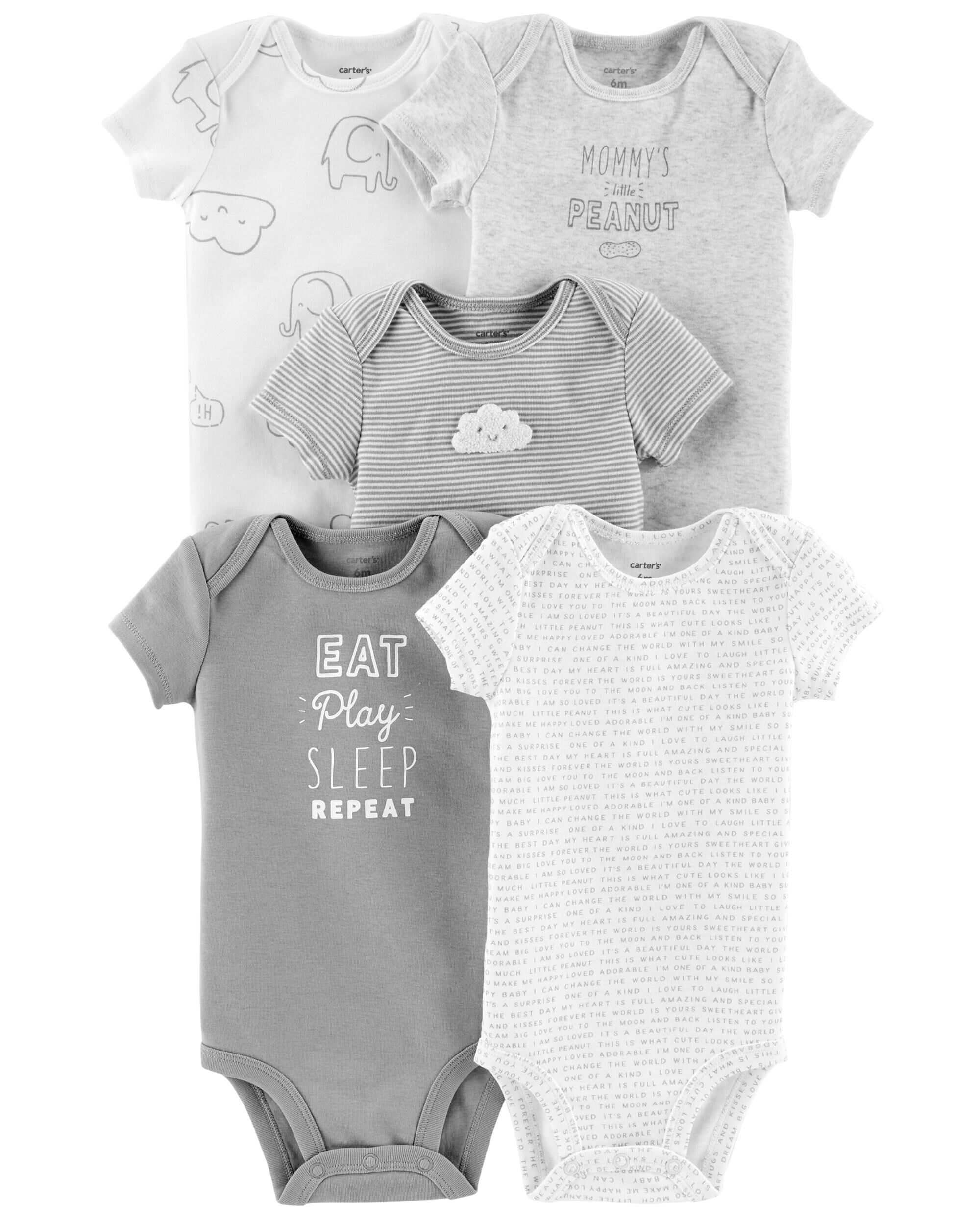 New Carter/'s 3 Piece Eat Sleep Be Cute Repeat Outfit Set 24m 18m 12m 9m 6m 3 NB