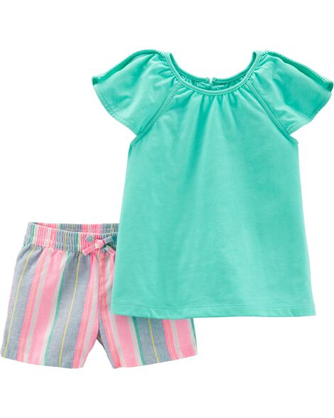 476907ca Display product reviews for 2-Piece Split Shoulder Top & Striped Linen  Short Set