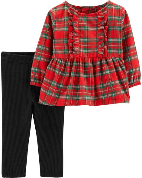 Display product reviews for 2-Piece Plaid Top & Pant Set