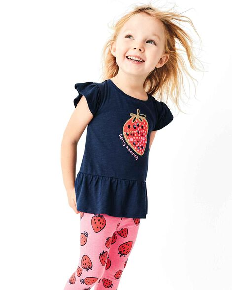Display product reviews for 2-Piece Glitter Strawberry Top & Legging Set