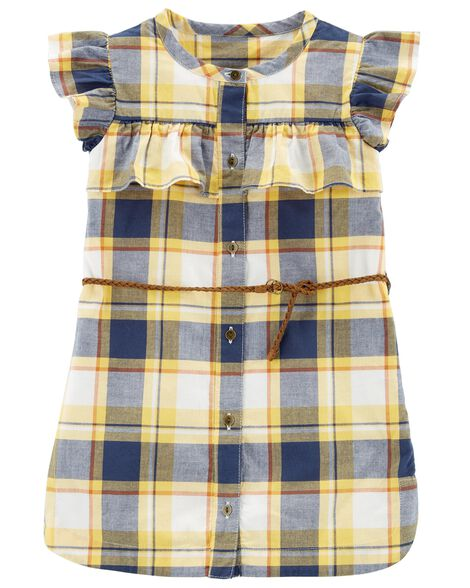 Display product reviews for Plaid Ruffle Belted Dress