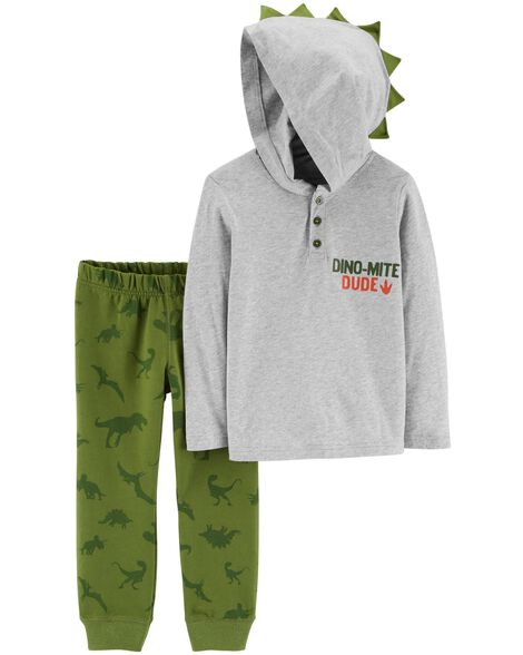 Display product reviews for 2-Piece Dinosaur Hooded Henley & Jogger Set