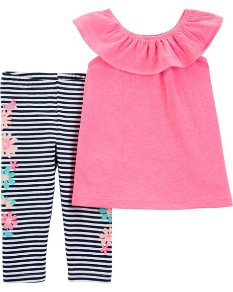 e28296cc59cb Display product reviews for 2-Piece Flutter Scoop Neck Top & Striped Capri  Legging Set