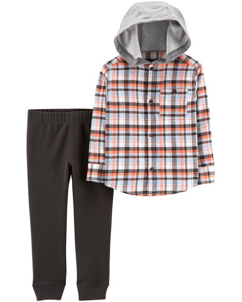 Display product reviews for 2-Piece Hooded Button-Front Flannel & Jogger Set