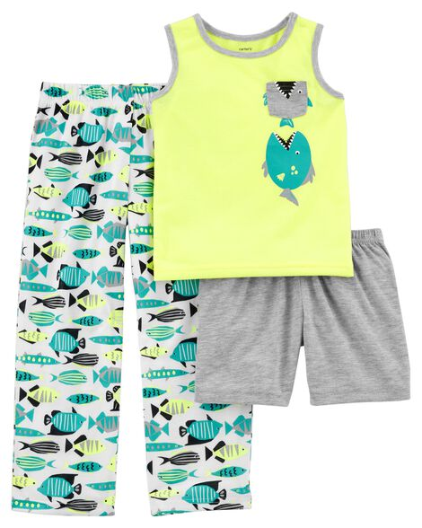 Display product reviews for 3-Piece Neon Fish Poly PJs