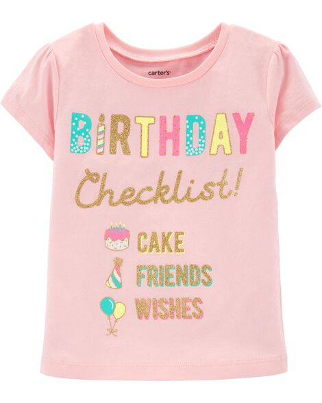Display Product Reviews For Glitter Birthday Checklist Jersey Tee