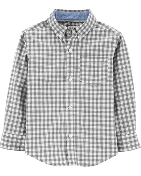 Display product reviews for Checkered Poplin Button-Front Shirt