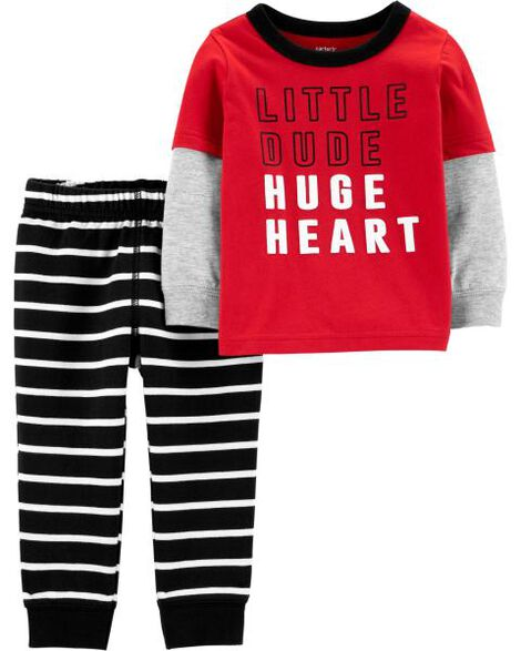 Display product reviews for 2-Piece Huge Heart Layered-Look Tee & Striped Jogger Set
