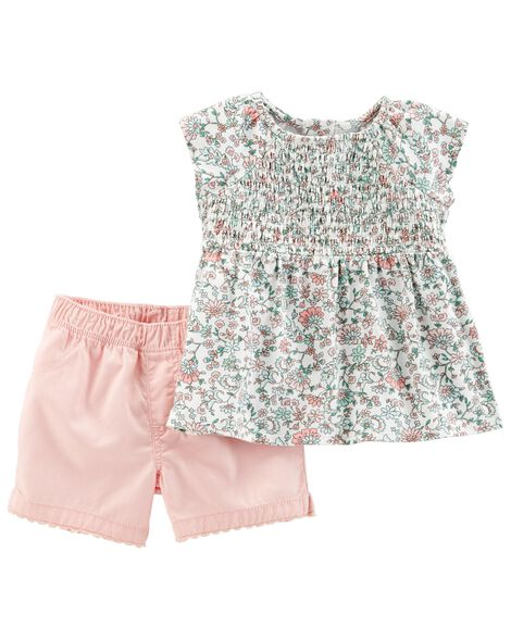 Display product reviews for 2-Piece Floral Top & Twill Short Set
