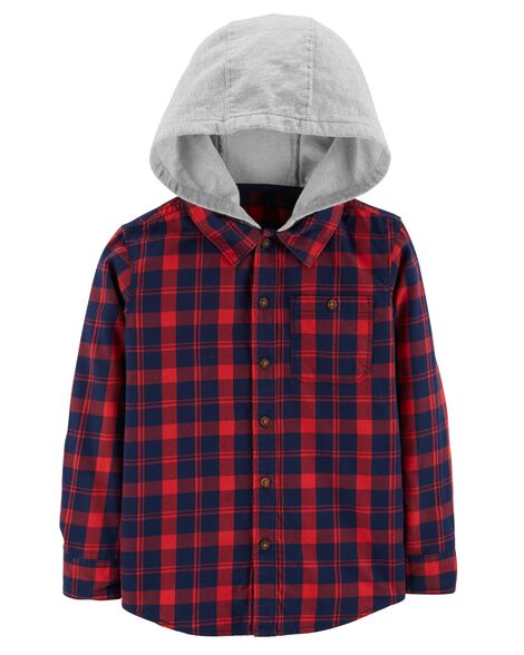Display product reviews for Hooded Twill Plaid Button-Front
