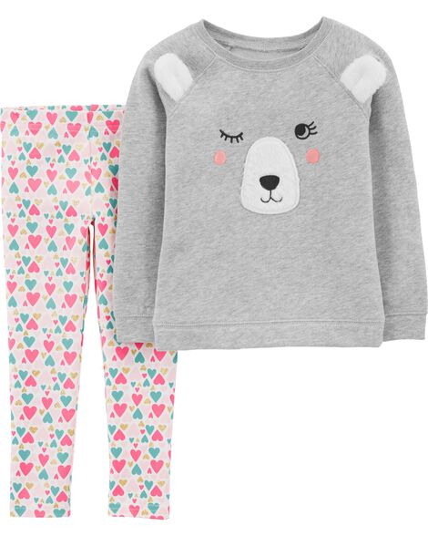 Display product reviews for 2-Piece Bear Fleece Top & Floral Legging Set
