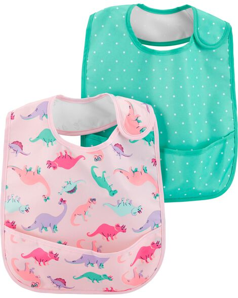 Display product reviews for 2-Pack Polka Dot & Dinosaur Feeding Bibs