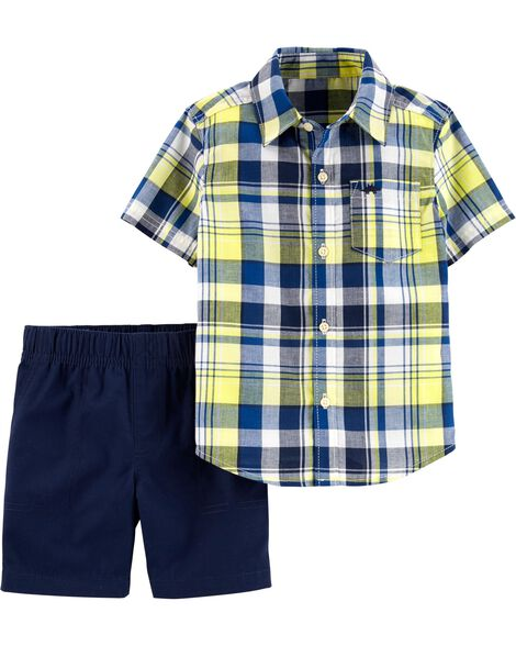 Display product reviews for 2-Piece Plaid Button-Front & Canvas Short Set