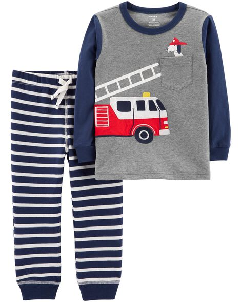 Display product reviews for 2-Piece Firetruck Tee & Striped Jogger Set