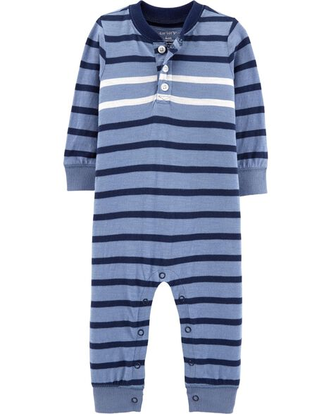 Display product reviews for Striped Henley-Style Jumpsuit 012685587