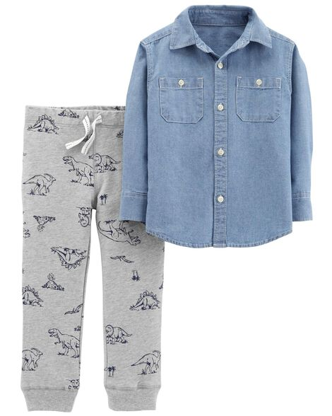 Display product reviews for 2-Piece Chambray Top & Dinosaur Jogger Set