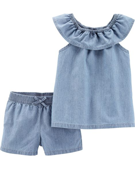 4667054a953 Display product reviews for 2-Piece Scoop Neck Chambray Top   Short Set