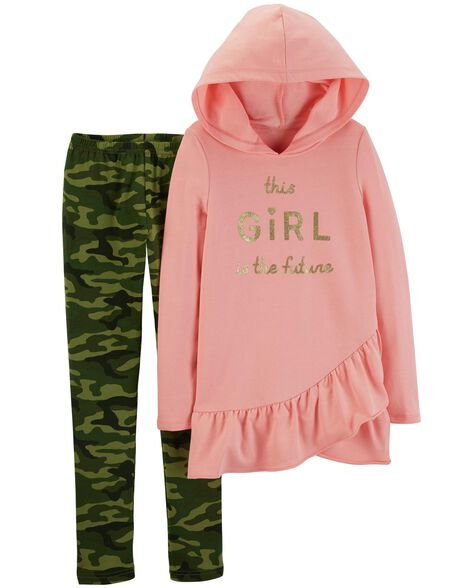 Display product reviews for 2-Piece French Terry Hoodie & Camo Legging Set