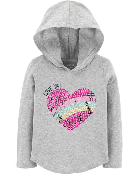 Display product reviews for Sequin Heart Pullover Hoodie
