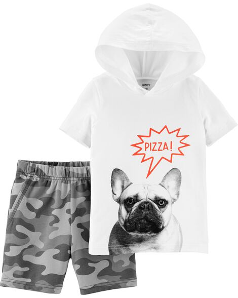 Display product reviews for 2-Piece French Bulldog Hoodie & Camo Short Set