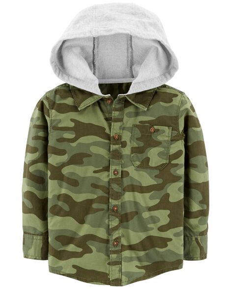 Display product reviews for Hooded Twill Flannel Button-Front Shirt