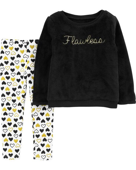 Display product reviews for 2-Piece Flawless Fuzzy Top & Heart Legging Set
