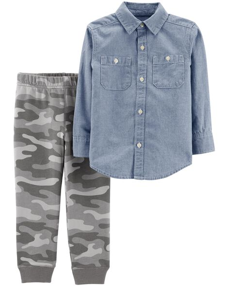 Display product reviews for 2-Piece Chambray Button-Front & Camo Jogger Set