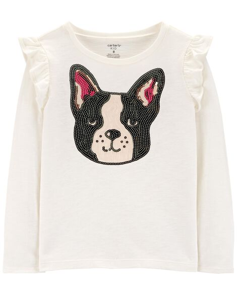 Display product reviews for Sequin French Bulldog Slub Top