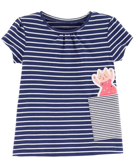Display Product Reviews For Striped Cat Pocket Tee