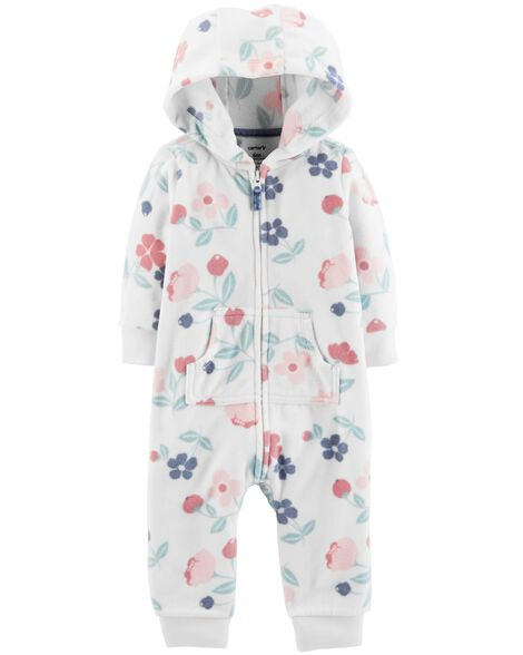 Display product reviews for Floral Hooded Fleece Jumpsuit