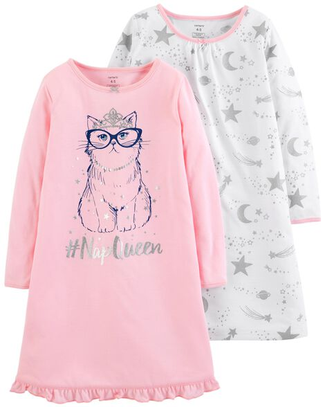 Display product reviews for 2-Pack Kitty Nightgowns