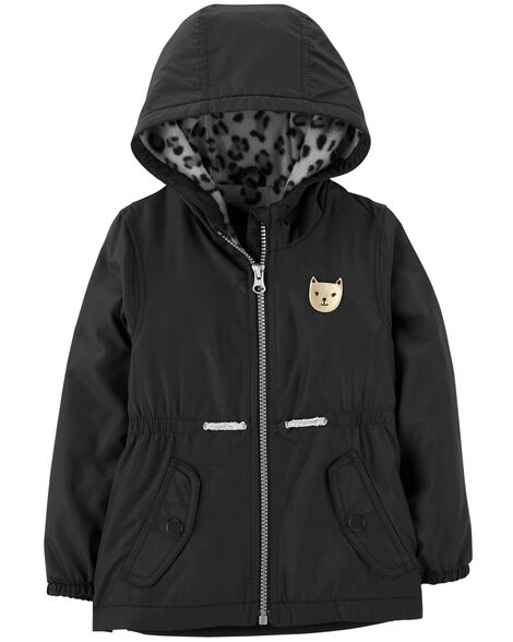 Display product reviews for Leopard Fleece-Lined Rain Jacket