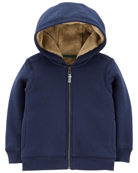 Display product reviews for Zip-Up Fuzzy-Lined Hoodie
