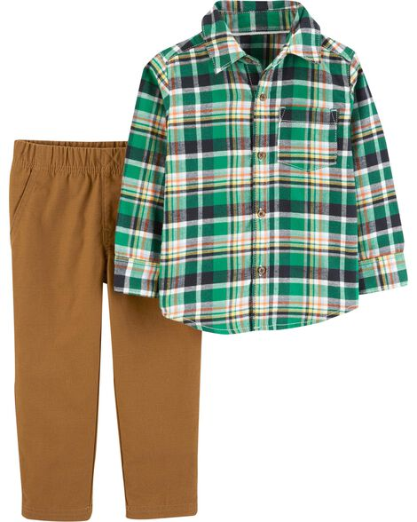 Display product reviews for 2-Piece Plaid Button-Front Top & Pant Set