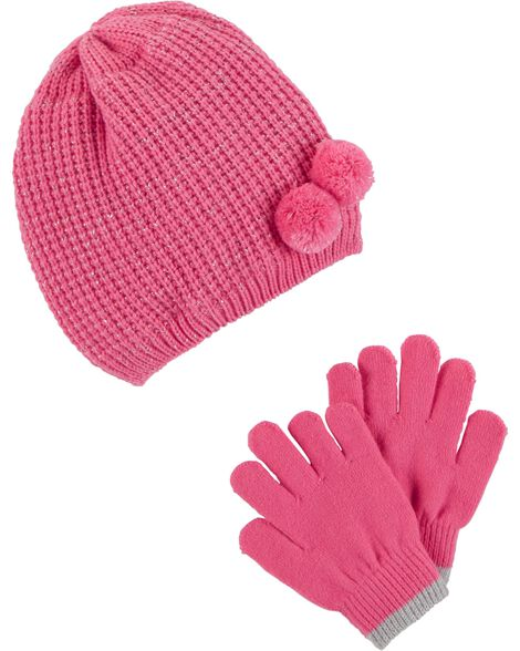 Display product reviews for Glitter Pom Pom Hat & Mitten Set