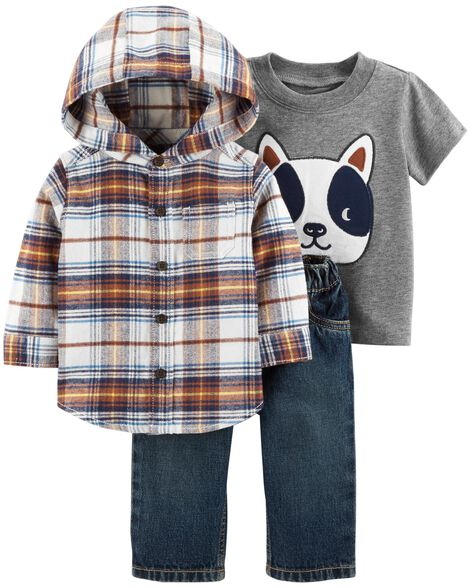 Display product reviews for 3-Piece Button-Front Flannel & Jean Set