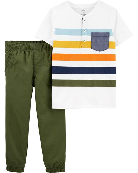e3bf06716c531 Display product reviews for 2-Piece Striped Henley & Poplin Pant Set