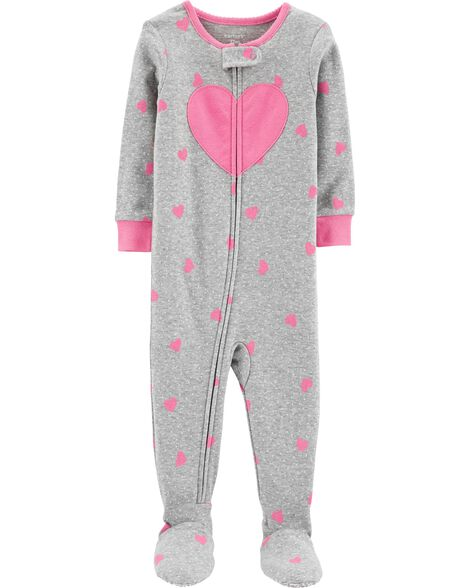 Display product reviews for 1-Piece Heart Footed Snug Fit Cotton PJs