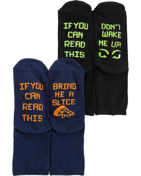 Display product reviews for 2-Pack Slogan Crew Socks