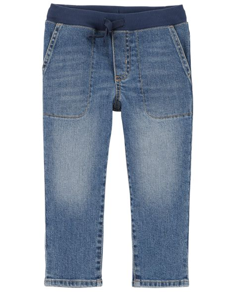 Display product reviews for Pull-On Slub Straight-Fit Jeans