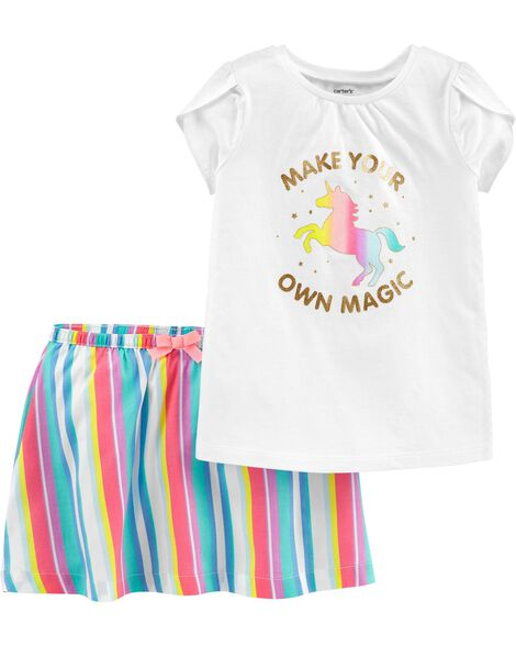 Display product reviews for 2-Piece Unicorn Top & Rainbow Skort Set