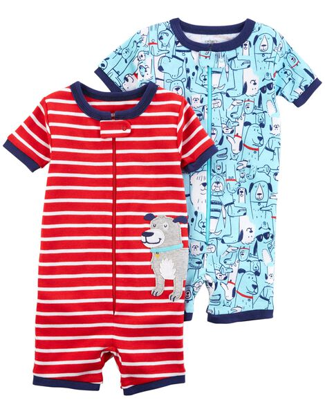 Display product reviews for 2-Pack Zip-Up Snug Fit Cotton PJ Rompers