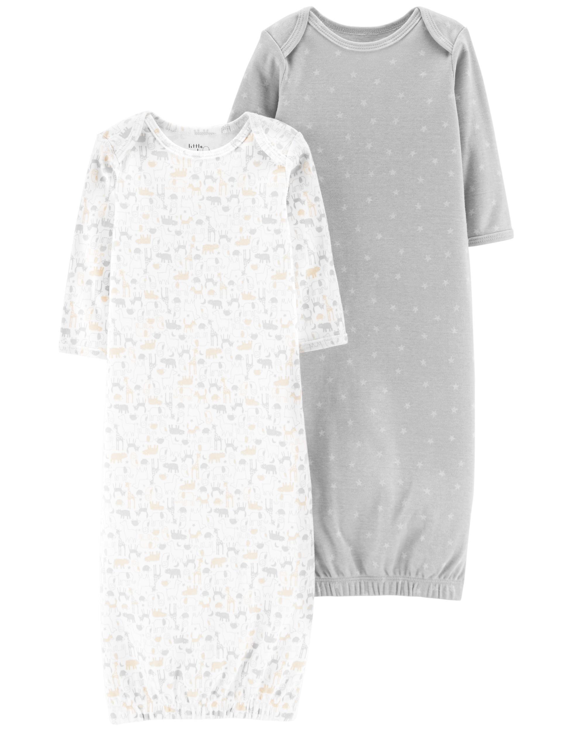 Baby Girl 2-Pack Certified Organic Sleeper Gowns | Carters.com