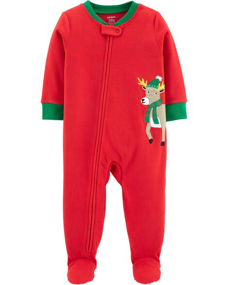 2b9091311f 1-Piece Christmas Reindeer Fleece PJs