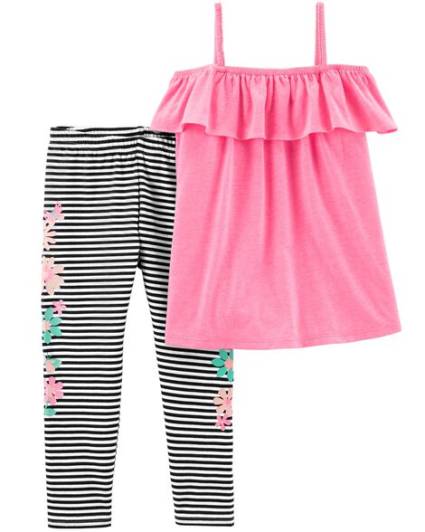 33a4feb70 Display product reviews for 2-Piece Ruffle Tank & Striped Legging Set