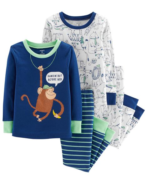 Display product reviews for 4-Piece Monkey Snug Fit Cotton PJs