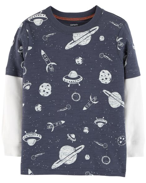 Display product reviews for Space Layered-Look Slub Jersey Tee