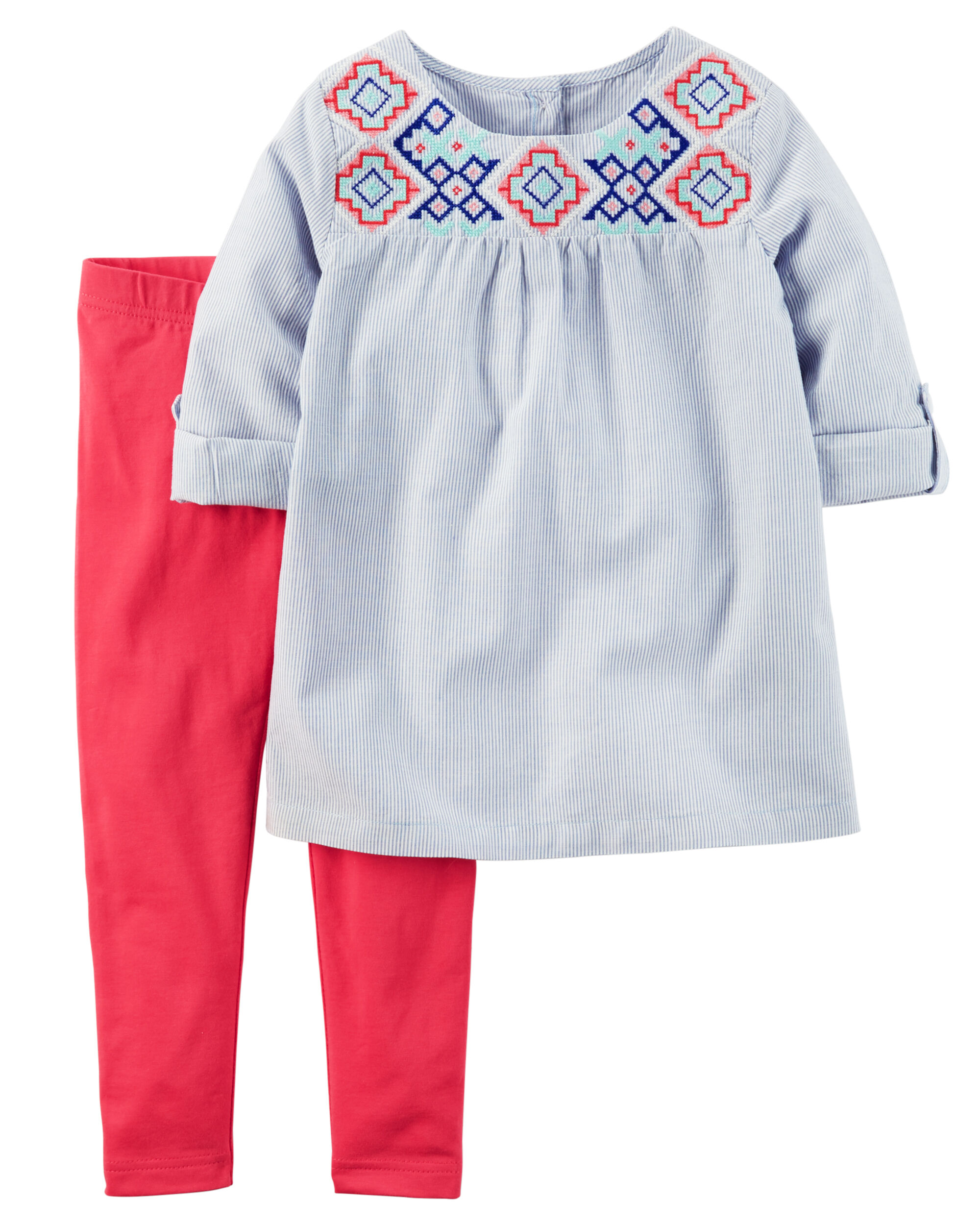 0571fd43eb4 2-Piece Embroidered Tunic   Legging Set